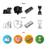 Bank, business schedule, bundle of notes, time money. Money and Finance set collection icons in black,flat,outline style. Vector symbol stock illustration Royalty Free Stock Image