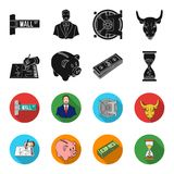 Bank, business schedule, bundle of notes, time money. Money and Finance set collection icons in black,flet style vector. Symbol stock illustration Stock Images