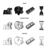 Bank, business schedule, bundle of notes, time money. Money and Finance set collection icons in black,monochrome,outline. Style vector symbol stock illustration Stock Image