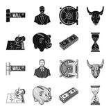 Bank, business schedule, bundle of notes, time money. Money and Finance set collection icons in black,monochrome style. Vector symbol stock illustration Royalty Free Stock Image