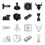 Bank, business schedule, bundle of notes, time money. Money and Finance set collection icons in black,outline style. Vector symbol stock illustration Stock Images