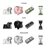 Bank, business schedule, bundle of notes, time money. Money and Finance set collection icons in cartoon,black,monochrome. Style vector symbol stock illustration Stock Image