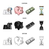 Bank, business schedule, bundle of notes, time money. Money and Finance set collection icons in cartoon,black,outline. Style vector symbol stock illustration Stock Photography