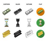 Bank, business schedule, bundle of notes, time money. Money and Finance set collection icons in cartoon,black,outline. Flat style vector symbol stock Royalty Free Stock Photo
