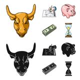 Bank, business schedule, bundle of notes, time money. Money and Finance set collection icons in cartoon,black style. Vector symbol stock illustration Royalty Free Stock Photography