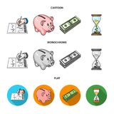 Bank, business schedule, bundle of notes, time money. Money and Finance set collection icons in cartoon,flat,monochrome. Style vector symbol stock illustration Stock Photos