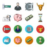 Bank, business schedule, bundle of notes, time money. Money and Finance set collection icons in cartoon,flat style. Vector symbol stock illustration Stock Image