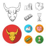 Bank, business schedule, bundle of notes, time money. Money and Finance set collection icons in outline,flat style. Vector symbol stock illustration Stock Images