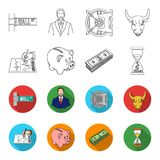 Bank, business schedule, bundle of notes, time money. Money and Finance set collection icons in outline,flat style. Vector symbol stock illustration Stock Photo