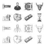 Bank, business schedule, bundle of notes, time money. Money and Finance set collection icons in outline,monochrome style. Vector symbol stock illustration Stock Image