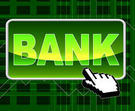 Bank Button Represents World Wide Web And Banks Stock Photo