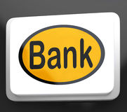 Bank Button Shows Online Or Internet Banking Stock Photo