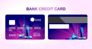 Bank card city. Bank credit card for a company or individual, featuring the Chinese city of Shanghai lit by neon lights. Two sides of the card front and back vector illustration