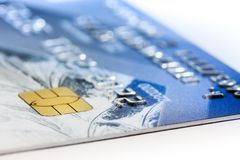 Bank card closeup. Bank card with golden chip, closeup, with shallow depth of field stock photo