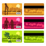 Bank card design, holiday and travel. Vector illustration Royalty Free Stock Photography
