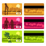Bank card design, holiday and travel. Vector illustration Royalty Free Stock Image