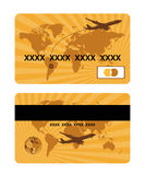 Bank card design, world travel. Vector illustration Royalty Free Stock Images