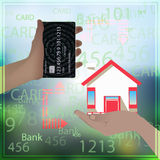 Bank card is equal home mortgage photo background Stock Photography