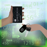 Bank card equal keys car photo background Royalty Free Stock Image