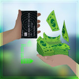 Bank card is equal to real money photo background Stock Photo