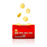 Bank card and gold coins Stock Photo