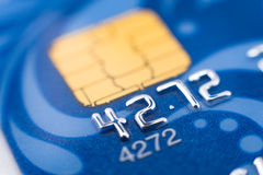 Bank card, macro. A blue bank card, macro, narrow focus stock photo