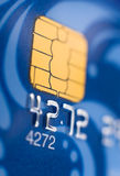 Bank card, macro. A blue bank card, macro, narrow focus royalty free stock photos