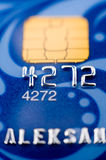 Bank card, macro. A blue bank card, macro, narrow focus royalty free stock photo