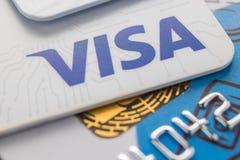 Free Bank Card Of The Visa. Cheboksary, Russia, June 12, 2018. Royalty Free Stock Photography - 118823317