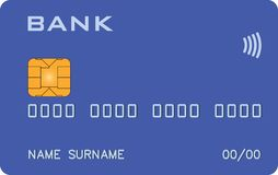 Bank card with PayWave PayPass blue prototype vector illustration