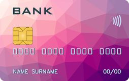 Bank card with PayWave PayPass triangle prototype royalty free illustration