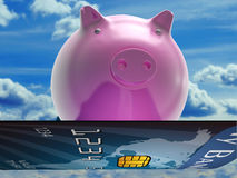 Bank Card Pig Shows Investment And Money Stock Images