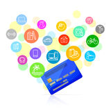 Bank card and potential purchases Royalty Free Stock Image