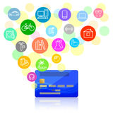 Bank card and potential purchases Royalty Free Stock Photography