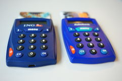 Bank card readers. Two bank card readers of Rabobank and ING Royalty Free Stock Photo