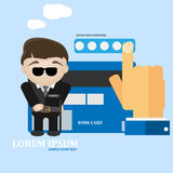 Bank card secure and protect concept. Vector illustration. Guard man and card vector template vector illustration