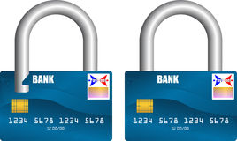 Bank card unlocked and locked. Bank card unlocked locked business Stock Image