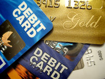 Bank Cards 1. Close-up of debit and credit cards, no logos stock photography