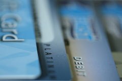 Bank Cards. Close-up of Debit, Credit, and Gift Cards stock photos