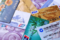 Bank cards background Royalty Free Stock Images