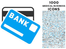 Bank Cards Icon with 1000 Medical Business Icons. Bank Cards vector bicolor icon with 1000 medical business icons. Set style is flat pictograms, blue and gray Royalty Free Stock Photo