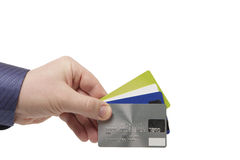 Bank Cards in a man's hand - Close Up Royalty Free Stock Photos