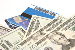 Bank cards and U.S. dollars Stock Photo