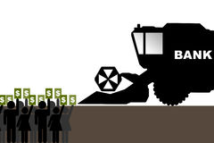 Bank cares about your money. Abstract illustration of people with money in their hands and combine-harvester Stock Images