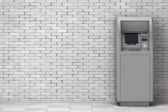 Bank Cash ATM Machine. 3d Rendering. Bank Cash ATM Machine in front of brick wall. 3d Rendering Royalty Free Stock Image