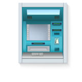 Bank Cash Machine. ATM - Automated teller machine with blank screen and carefully drawn details on white backdrop Stock Photos