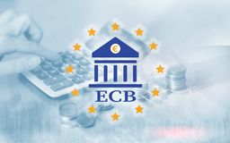 bank centrala - europejczyk ECB Finanse, kapita?owa bankowo?? i inwestorski poj?cie, ilustracji