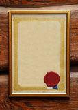 Bank certificate. Blank certificate in frame with blank wax seal stock photo