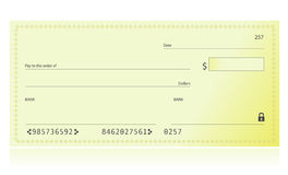 Bank Check. Illustration isolated over a white background Royalty Free Stock Photos