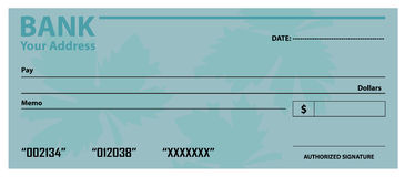 Bank check / cheque template Royalty Free Stock Photo